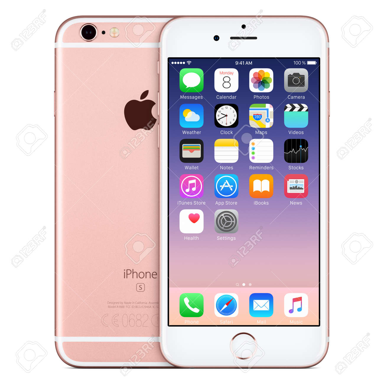 Varna, Bulgaria - October 24, 2015: Front view of Rose Gold Apple iPhone 6S with iOS 9 mobile operating system and back side with Apple Inc logo. Isolated on white. - 51147180