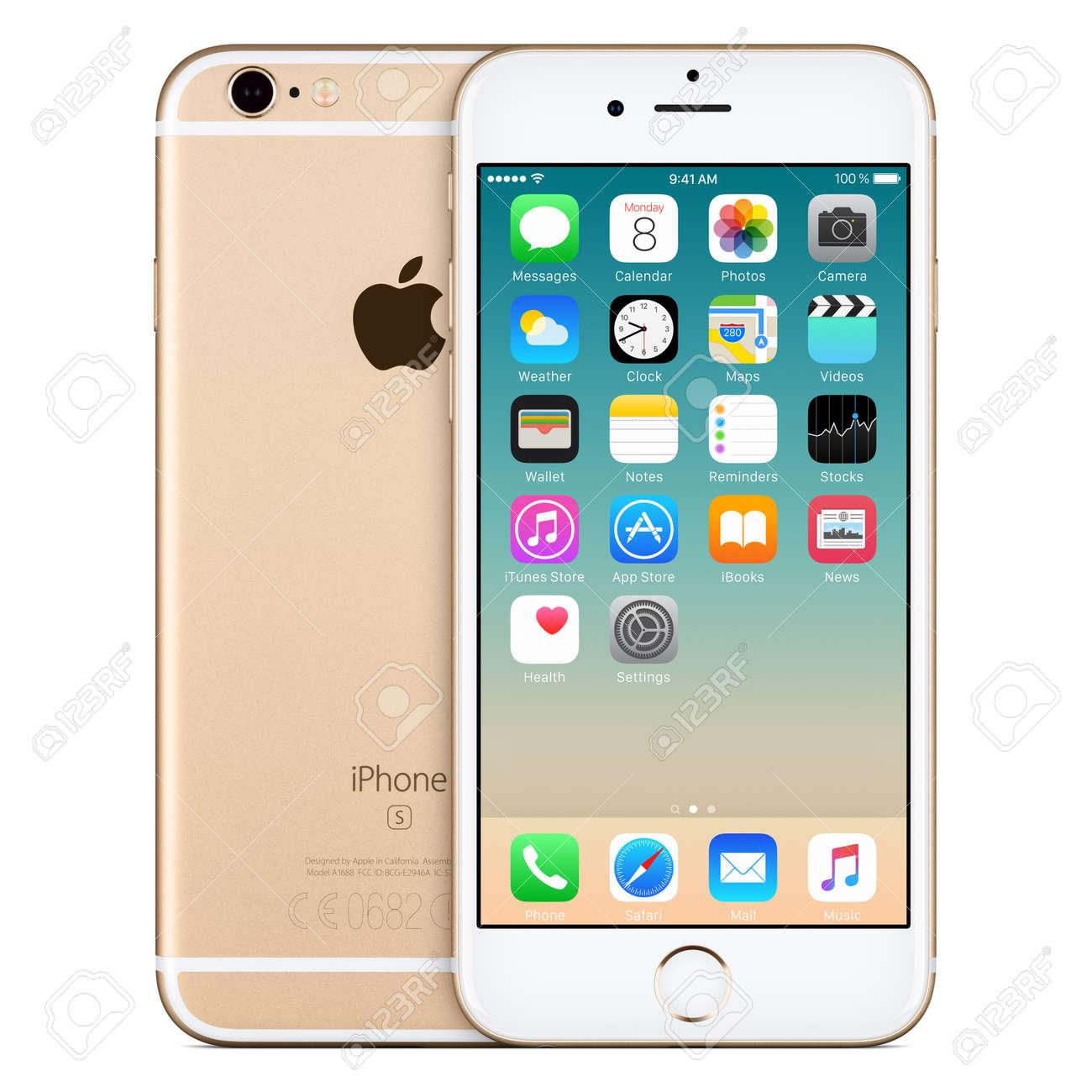 Varna, Bulgaria - 24 Octubre, 2015: Vista Frontal De Oro De Apple ...