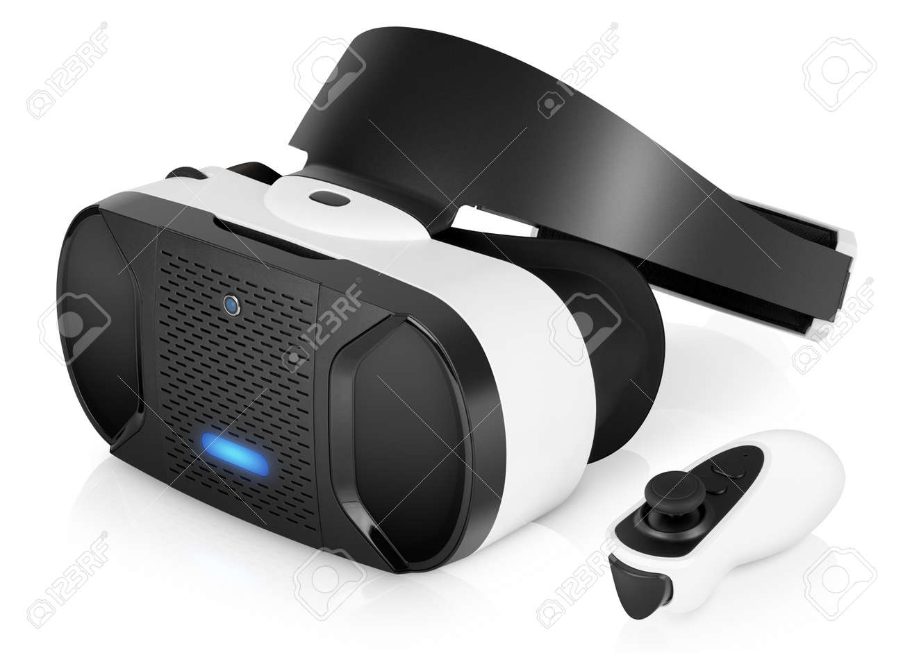 VR virtual reality headset half turned with game controller isolated on white background. VR is the future of gaming that gives players a new awesome experience. - 55674440