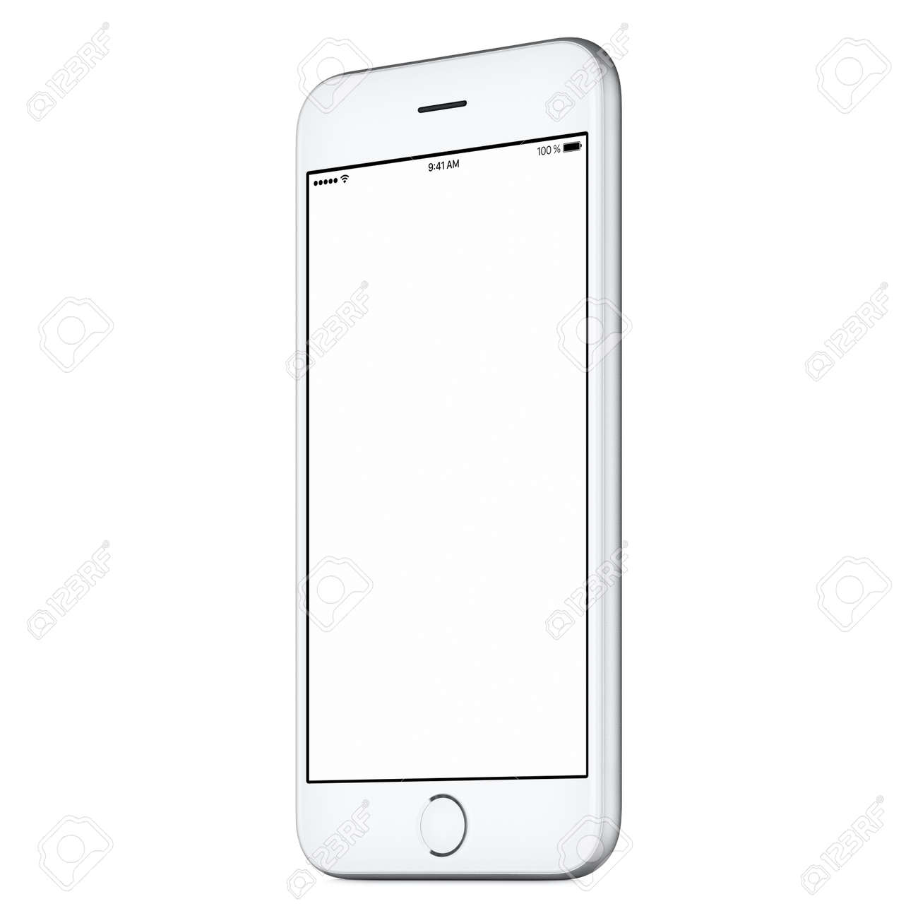 White mobile smart phone mockup slightly clockwise rotated with blank screen isolated on white background. You can use this mock-up for portfolio or UI design presentation or ad campaign. - 69839462