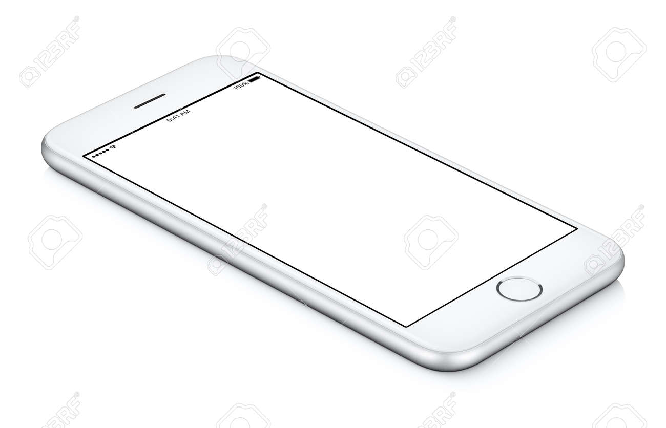 White mobile smartphone mockup counterclockwise rotated lies on the surface with blank screen - 73358405