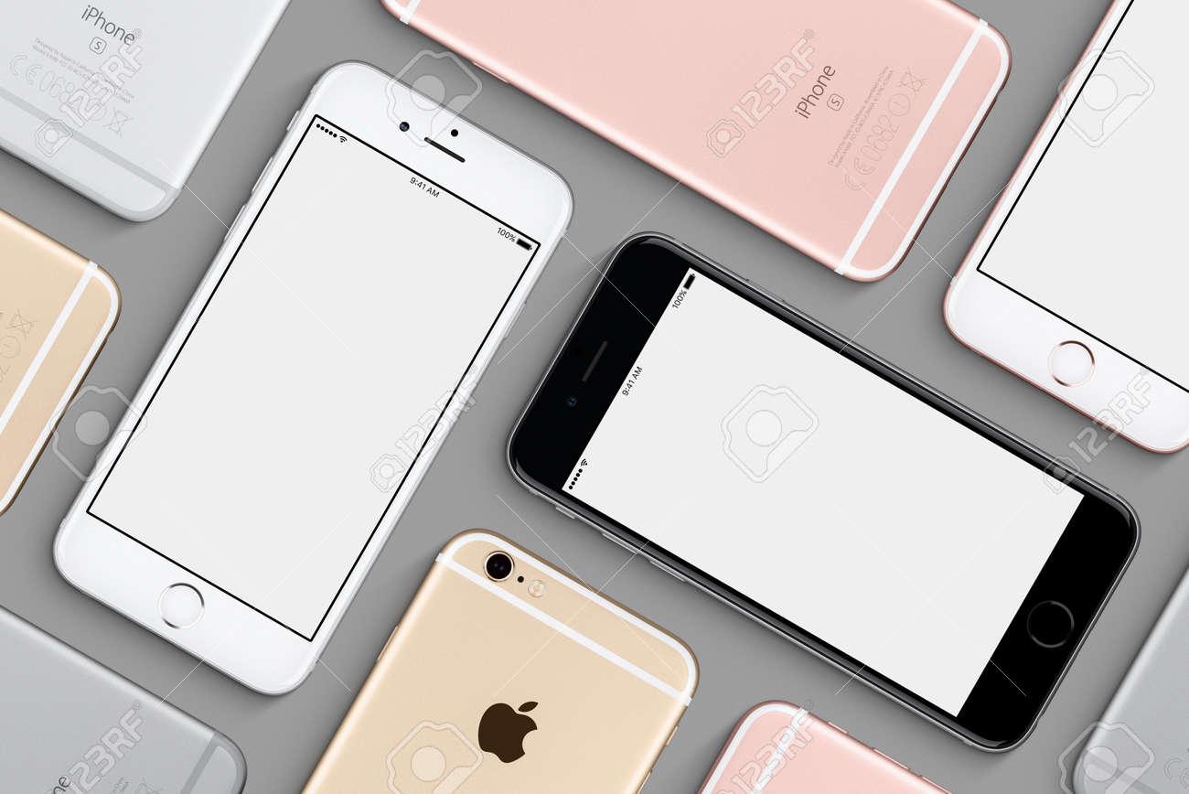 Set of Apple iPhones 6s mockup flat lay top view - 77119568