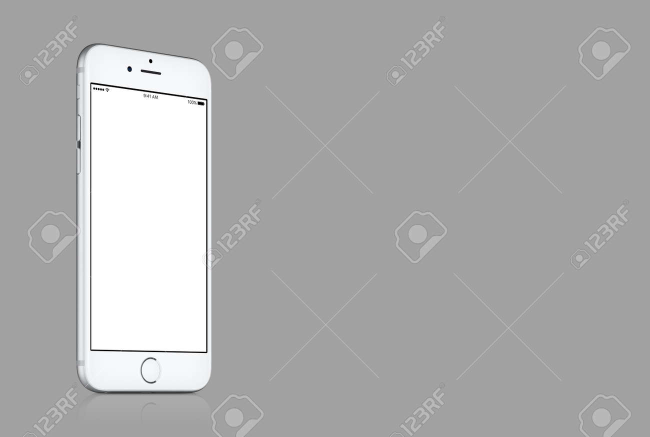 Varna, Bulgaria - March 10, 2016: Silver Apple iPhone 7 mockup