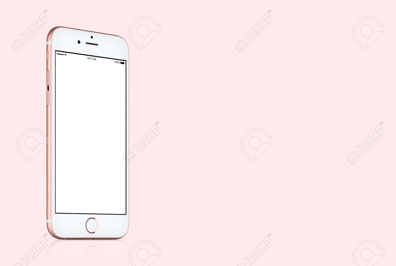 Varna, Bulgaria - March 10, 2016: Rose Gold Apple iPhone 7 mockup