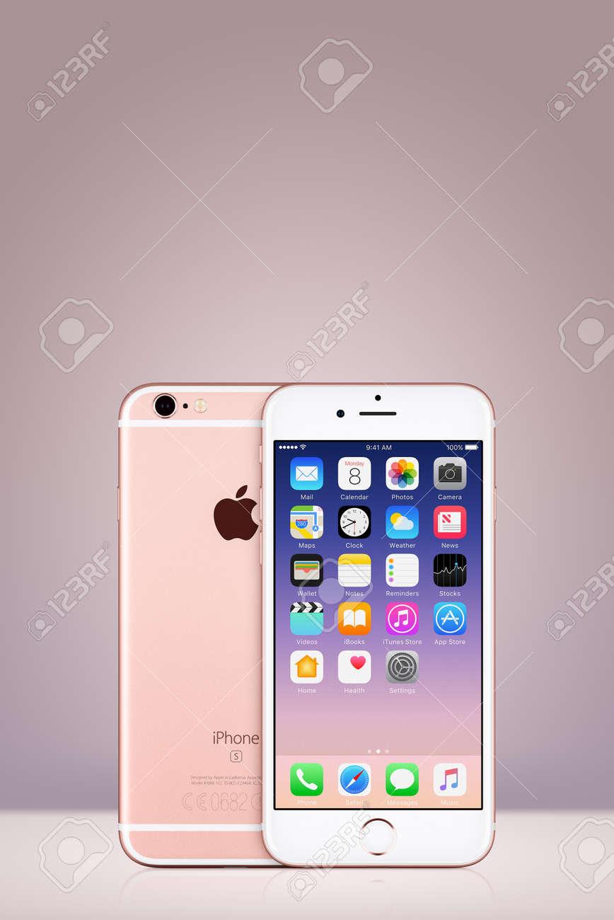 Rose Gold Apple Iphone 7 Avec Ios 10 Sur L Ecran Sur Fond De