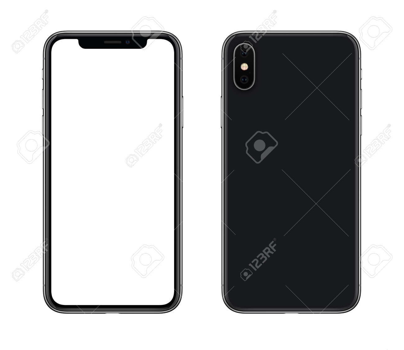 Smartphone mockup front and back side. New modern black frameless smartphone mockup with blank white screen and back side with camera. Isolated on white background. - 87903566