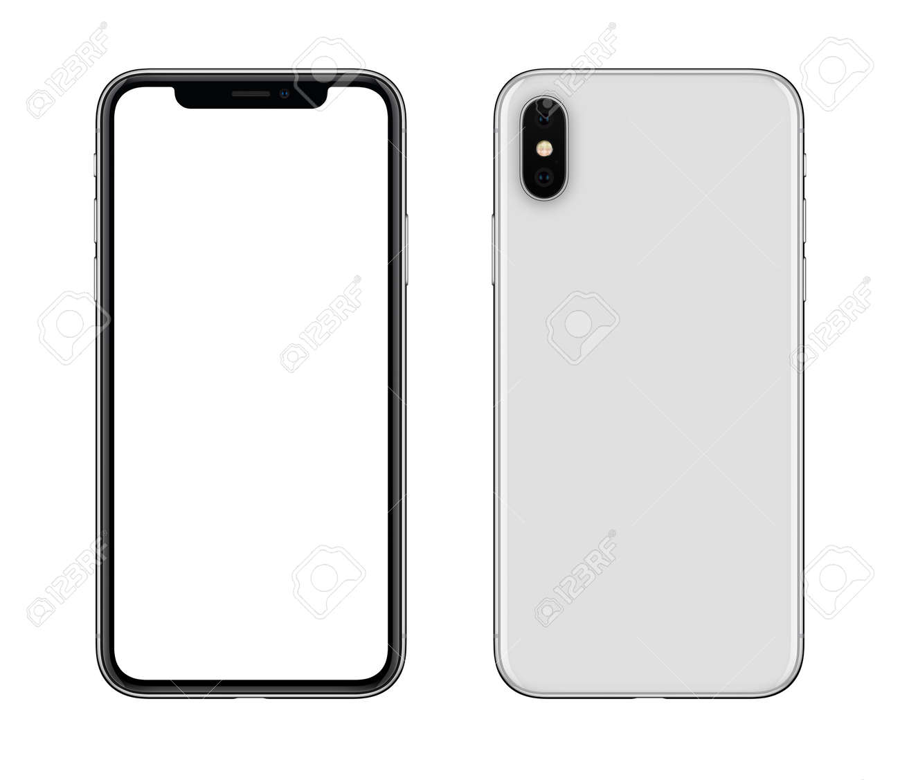 New modern white smartphone mockup front and back sides isolated on white background - 87986468