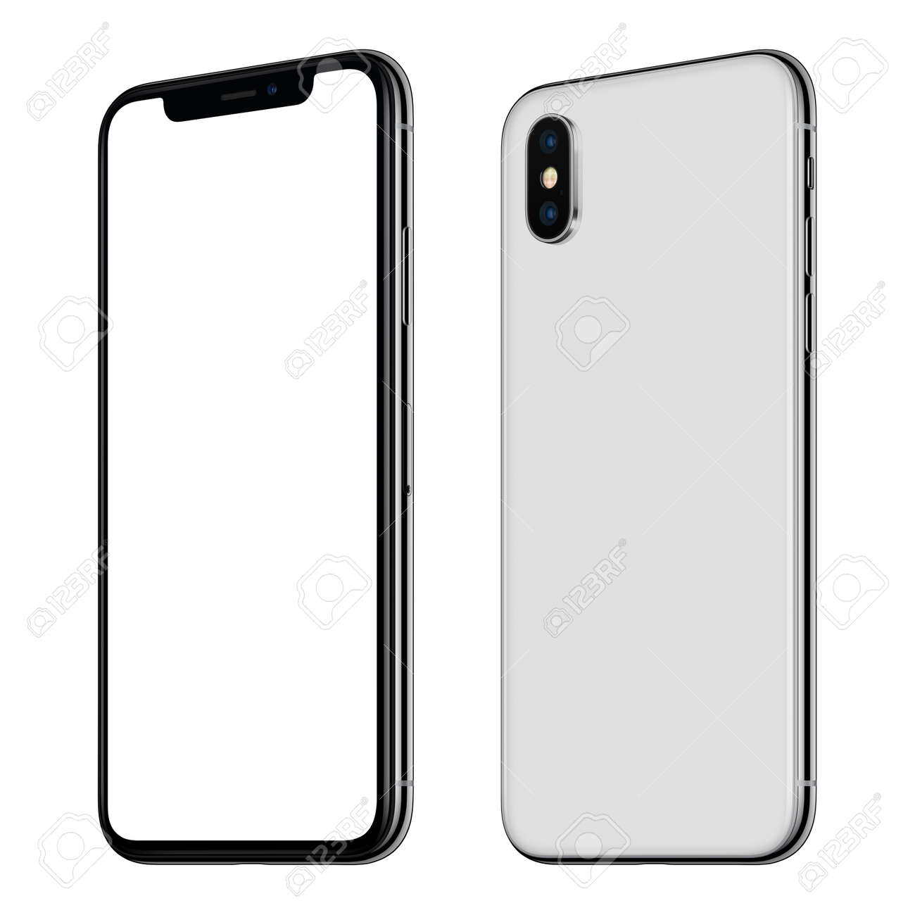 New white smartphone mockup front and back sides CW rotated isolated on white background - 89244699