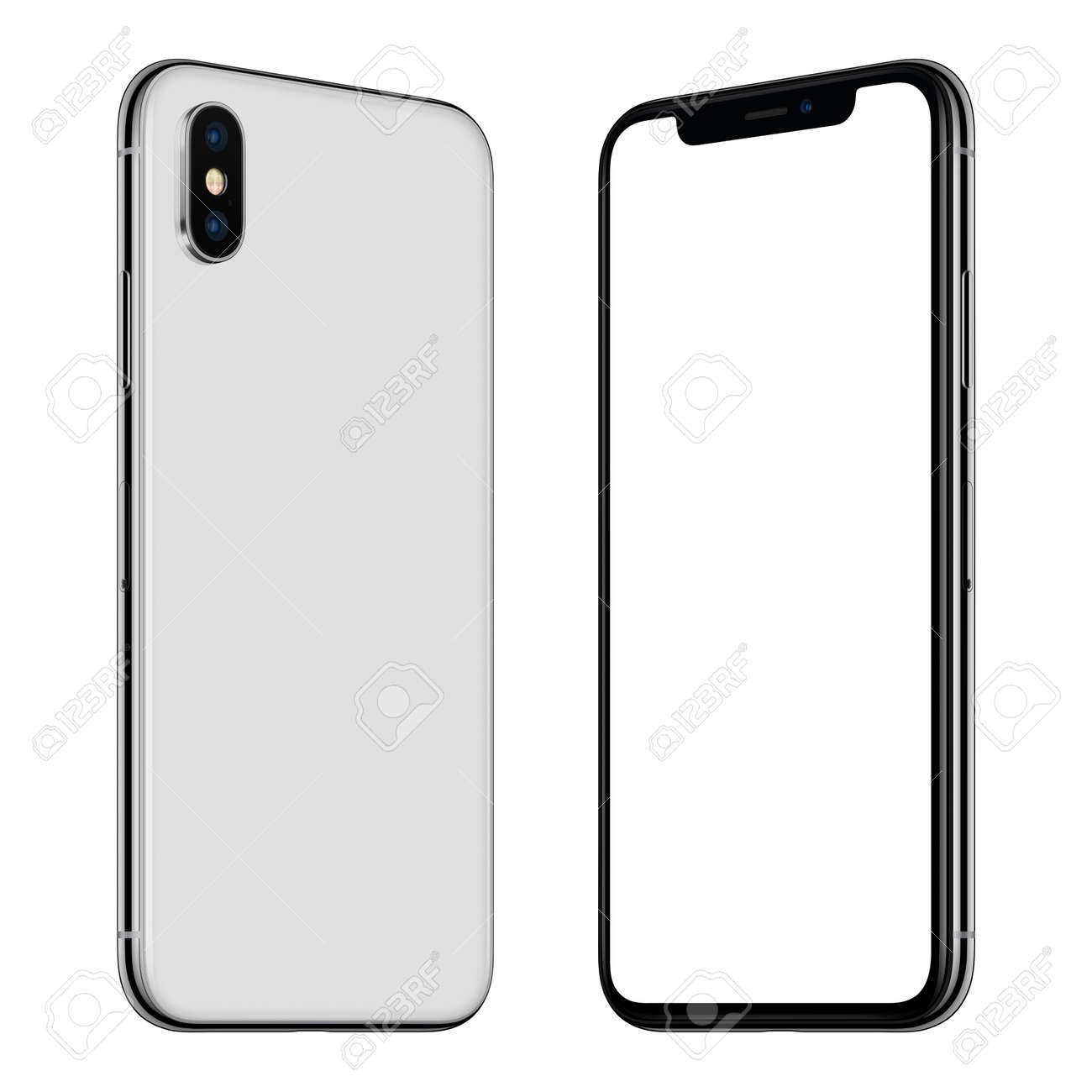 New white smartphone mockup front and back sides rotated and facing each other - 89620691