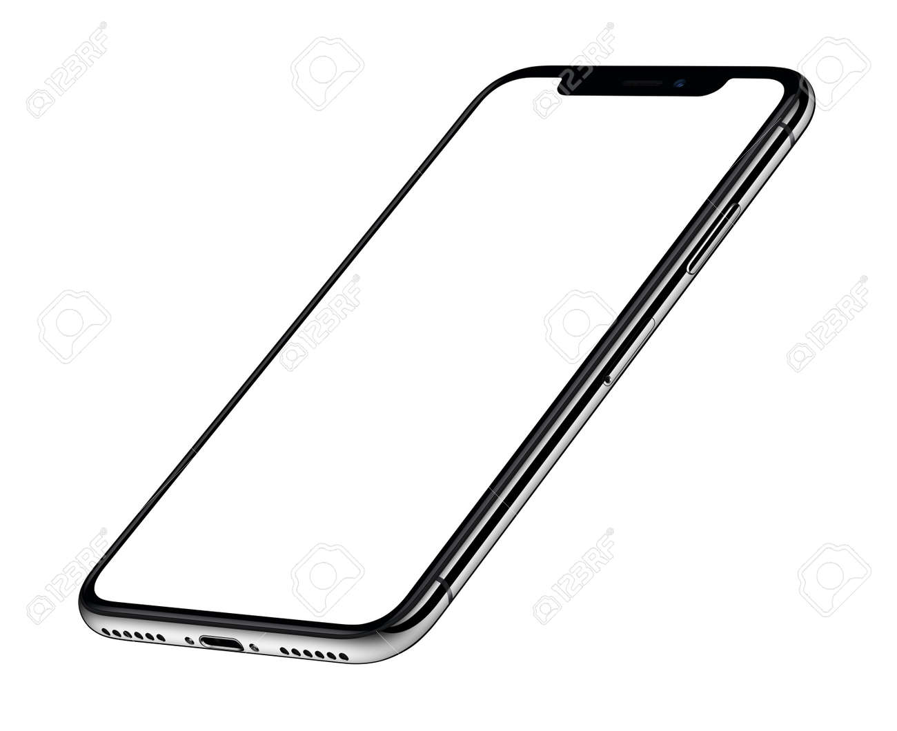 Perspective isometric smartphone mockup front side CCW rotated - 91699947
