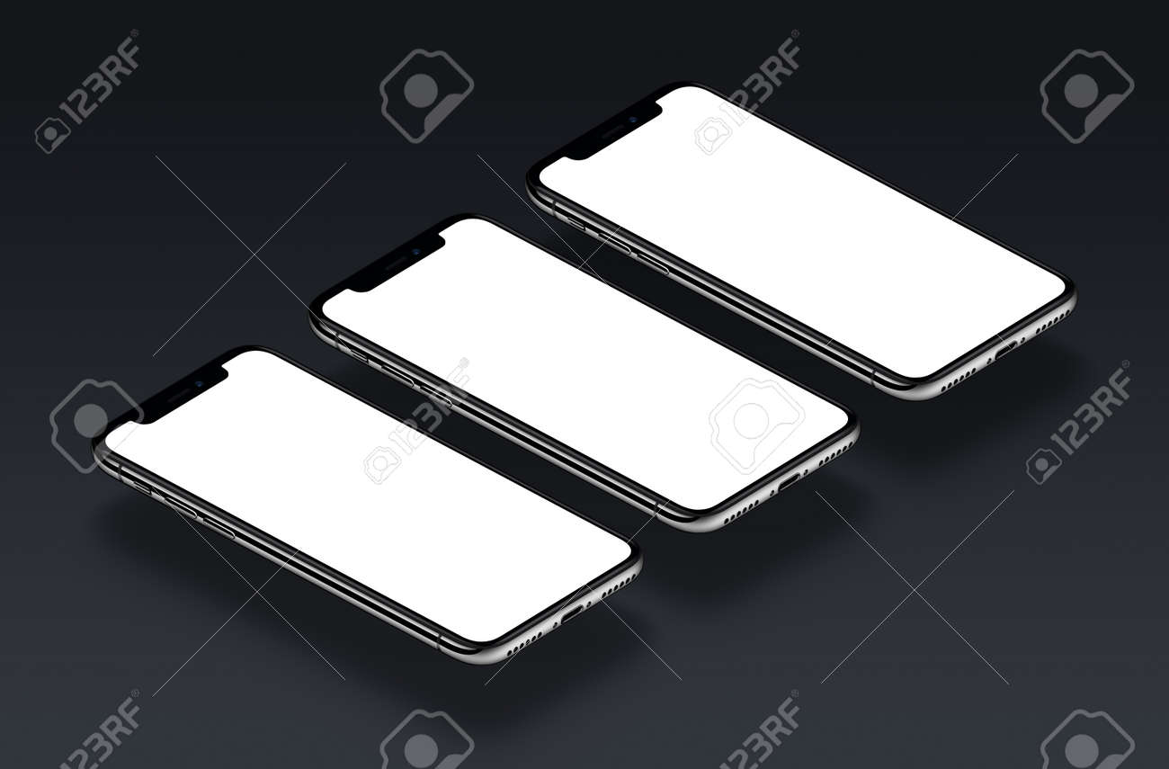 044a5c9304dfcb Stock Photo - Three perspective view smartphones in a row mockup on black gradient  background