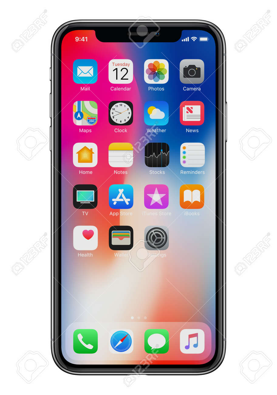 New Apple iPhone X front view on white background - 97410205