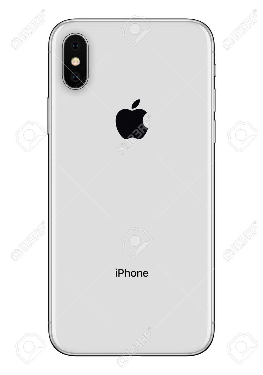 8fdcdb52fd09b Silver Apple iPhone X back side front view isolated on white background  Stock Photo - 97410225