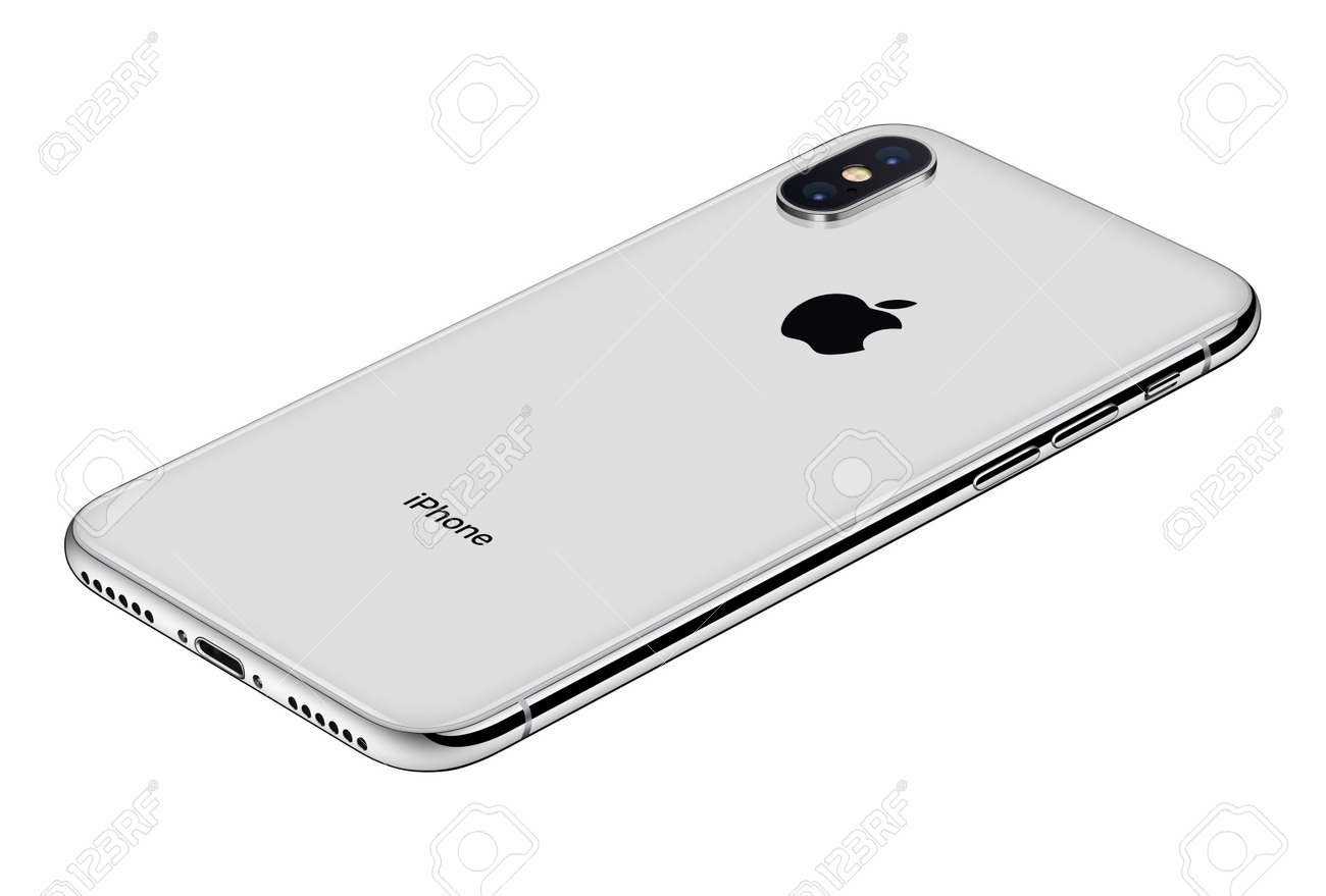 Perspective View Silver Apple Iphone X Back Side Isolated On