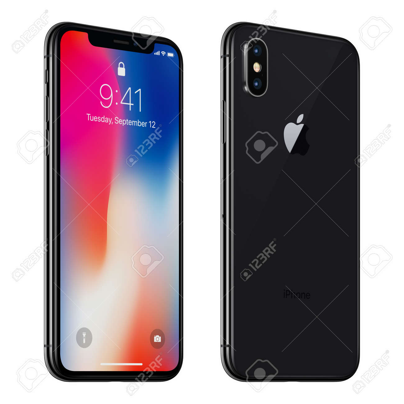 Black rotated Apple iPhone X with iOS 11 lockscreen front side and back side isolated on