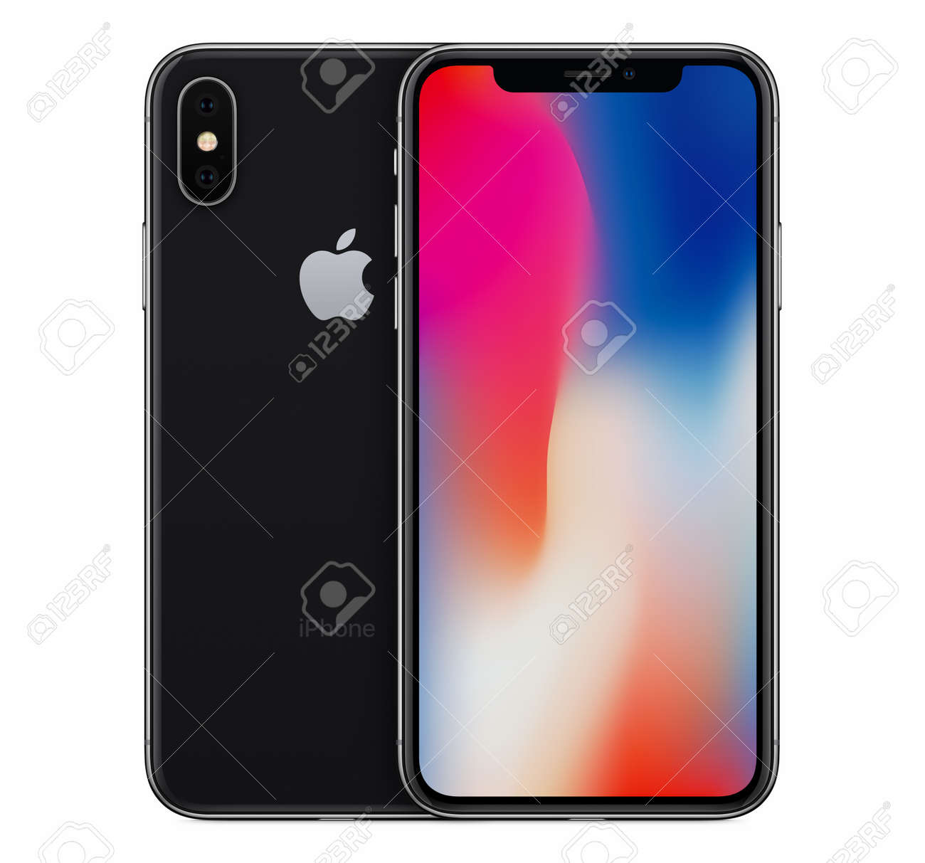 Space Gray Apple IPhone X Mockup Front View With Wallpaper Screen ...