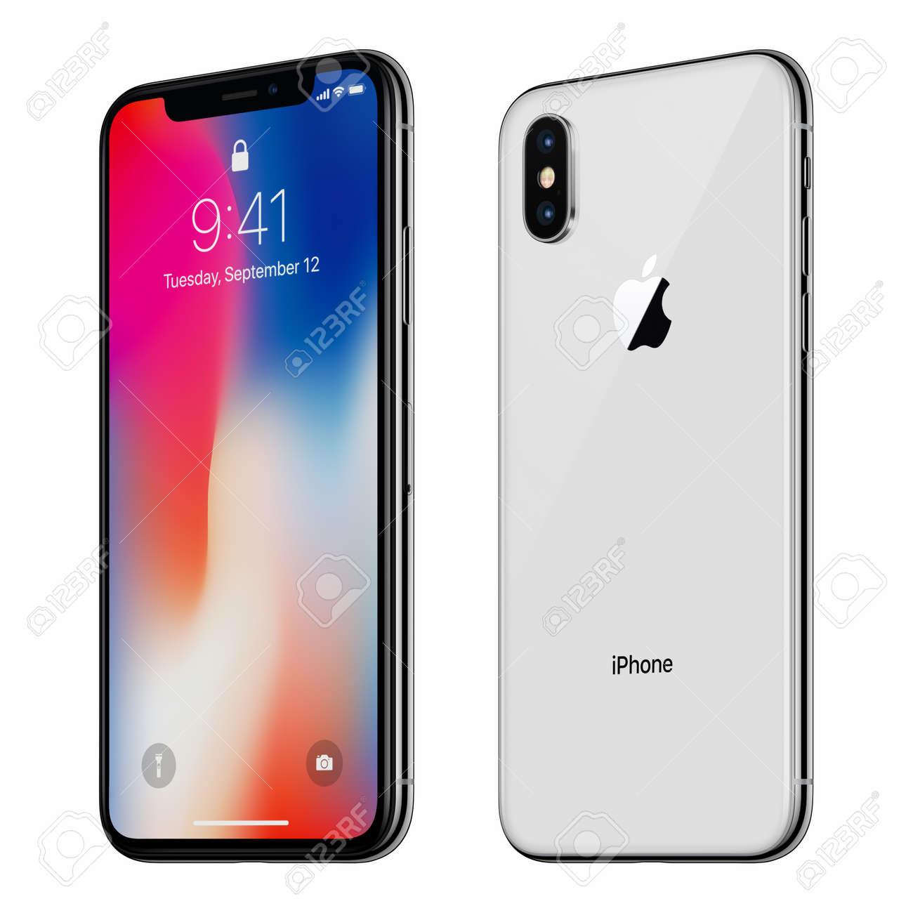 Stock Photo - White rotated Apple iPhone X with iOS 11 lockscreen front side and back side isolated on white background
