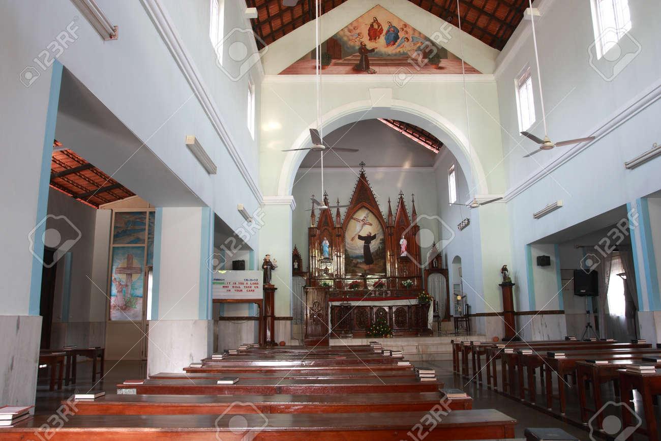 Country Church Interior India Goa Stock Photo