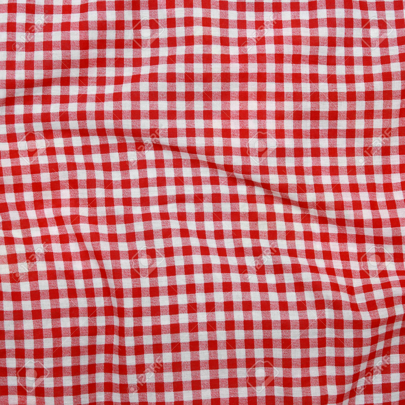 Abstract Texture Of A Red And White Checkered Picnic Blanket