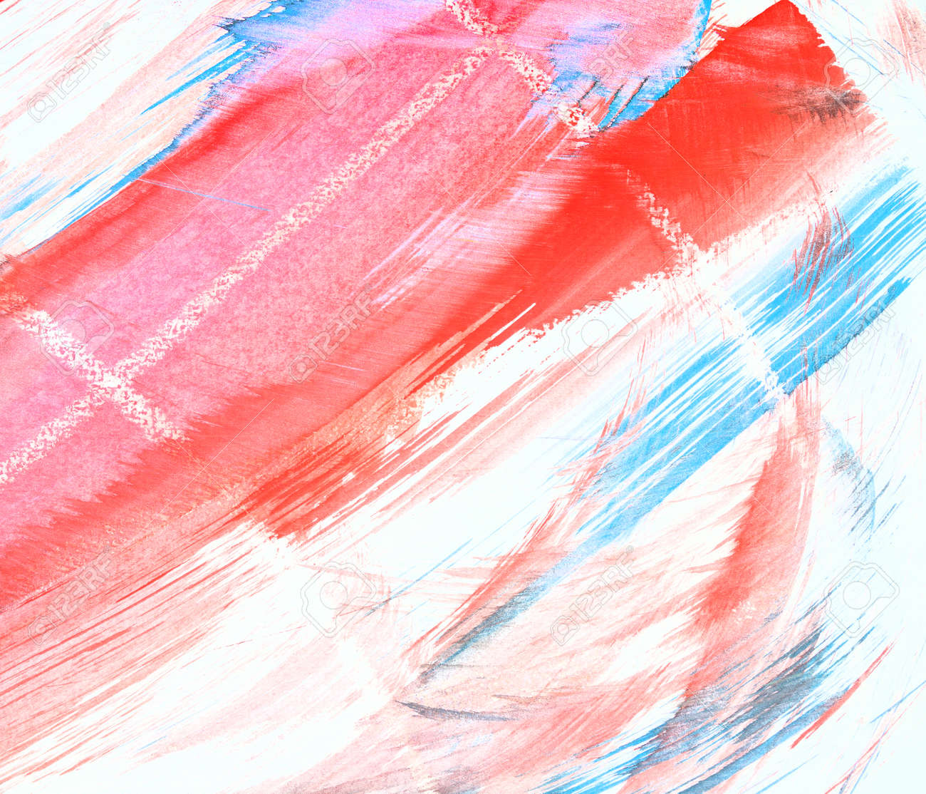 Watercolor Abstract Background Red And Blue Line On White