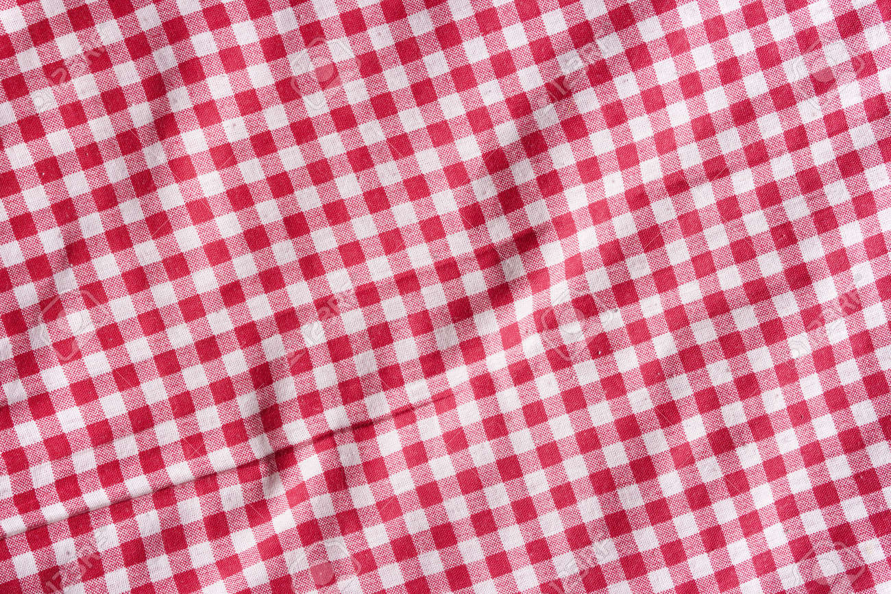 Red Linen Checkered Tablecloth Background. Stock Photo   39653344