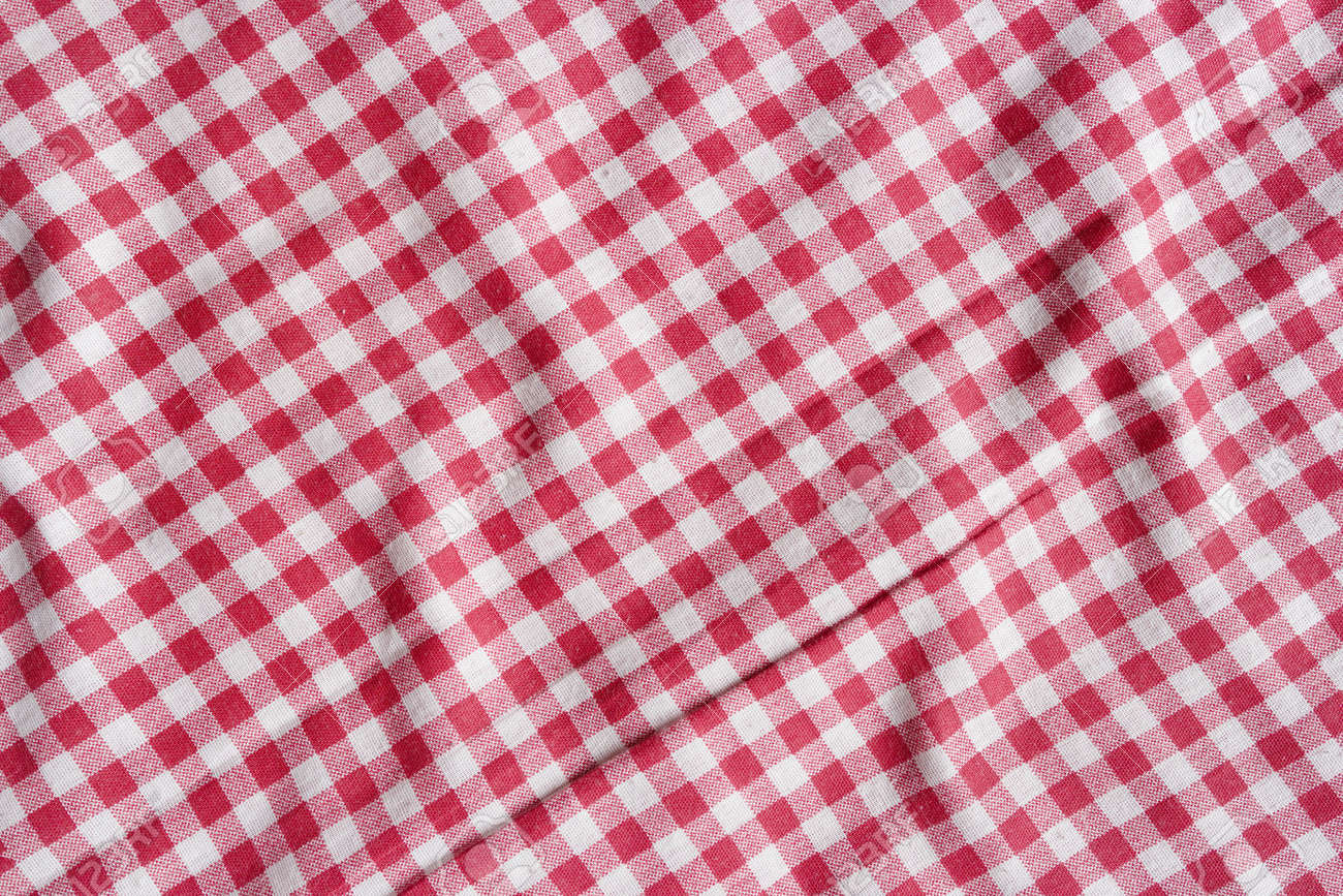 Red Picnic Tablecloth Background. Red And White Checkered Fabric Texture.  Stock Photo   43887902