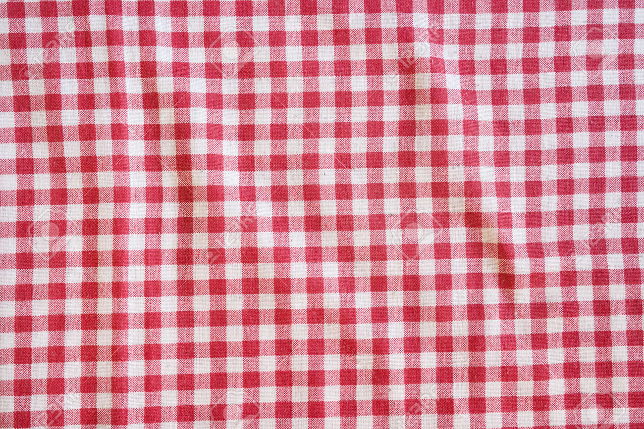 Beau Red Picnic Tablecloth Background. Red And White Checkered Fabric Texture.  Stock Photo   48200464