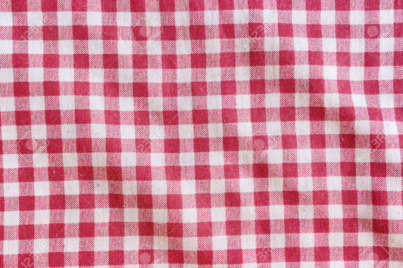 Red And White Checkered Fabric Texture. Red Picnic Tablecloth Background.  Stock Photo   50373089