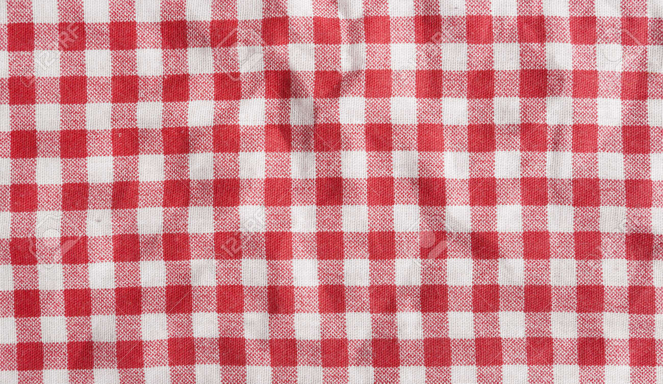 0711de1da8d Red linen picnic tablecloth. Texture of a red and white checkered picnic  blanket. Stock