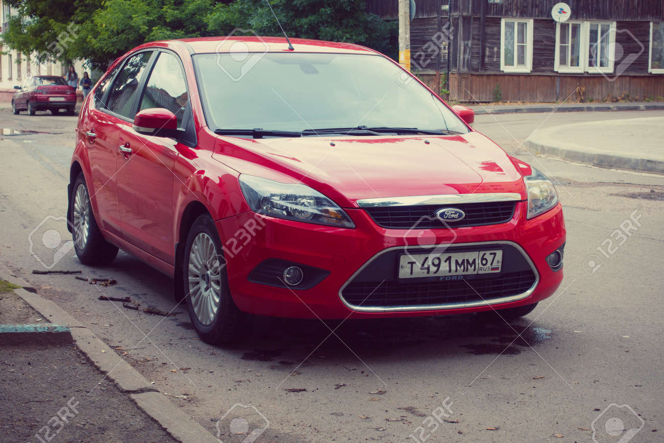 Smolensk Russia July 12 2017 Red Ford Focus Parked In Street