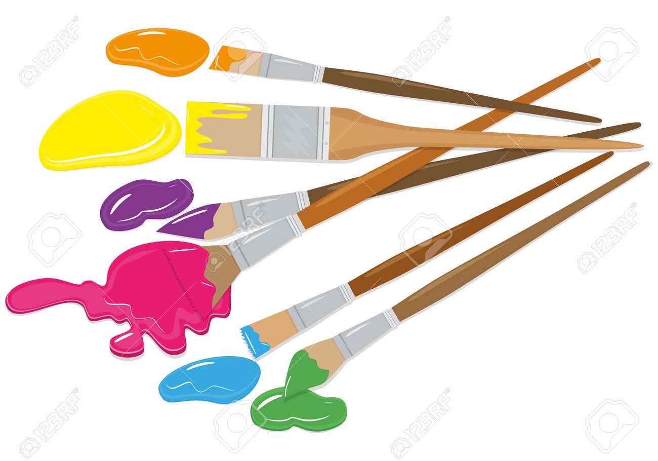 Vector   Vector Set Of Brushes In Different Styles. Realism, Flat. For  Graphic And Web Design.