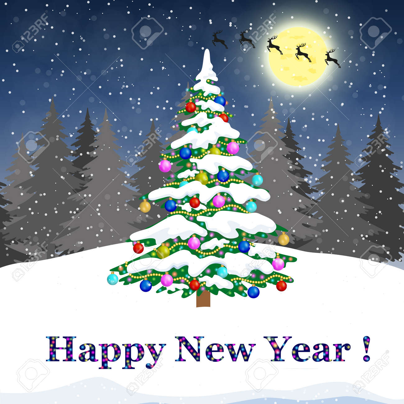 Mery Christmas.Christmas Tree With Colorful Baubles Illustration Festive Background