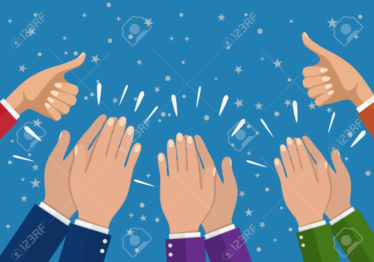 Human hands clapping. applaud hands. vector illustration in flat style. Businesswoman hands hold thumbs up. - 74037595