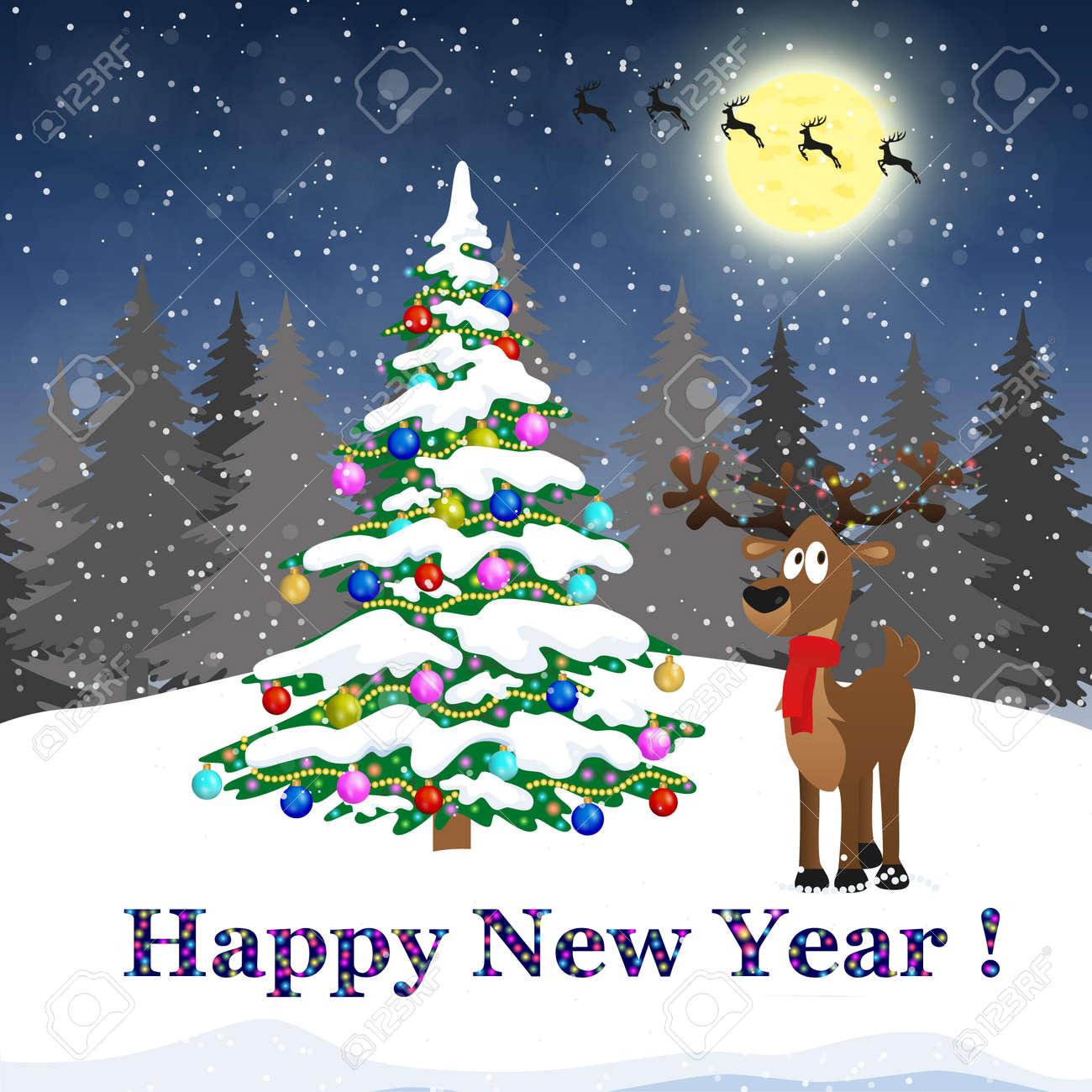 Frohe Weihnachten Und Happy New Year Schriftzug Design. Wir Wünschen ...