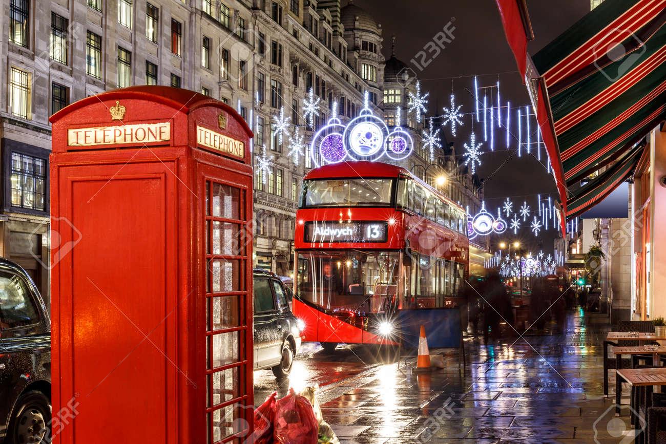 Christmas Lights On London Street England Stock Photo