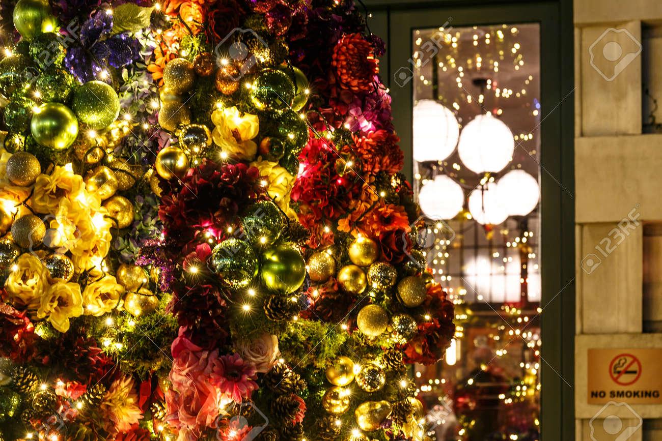 England Christmas Tree.Decorated Christmas Tree Outdoors England