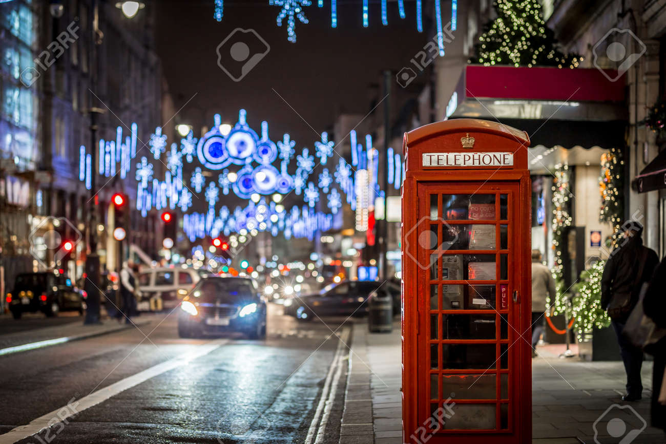 London At Christmas Time.Phone Box In London In Christmas Time