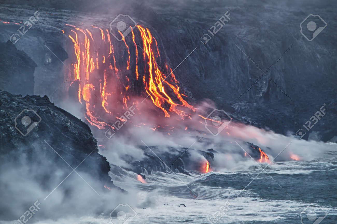 Lava erupting into Pacific Ocean in Hawaii Big Island Stock Photo - 13709660