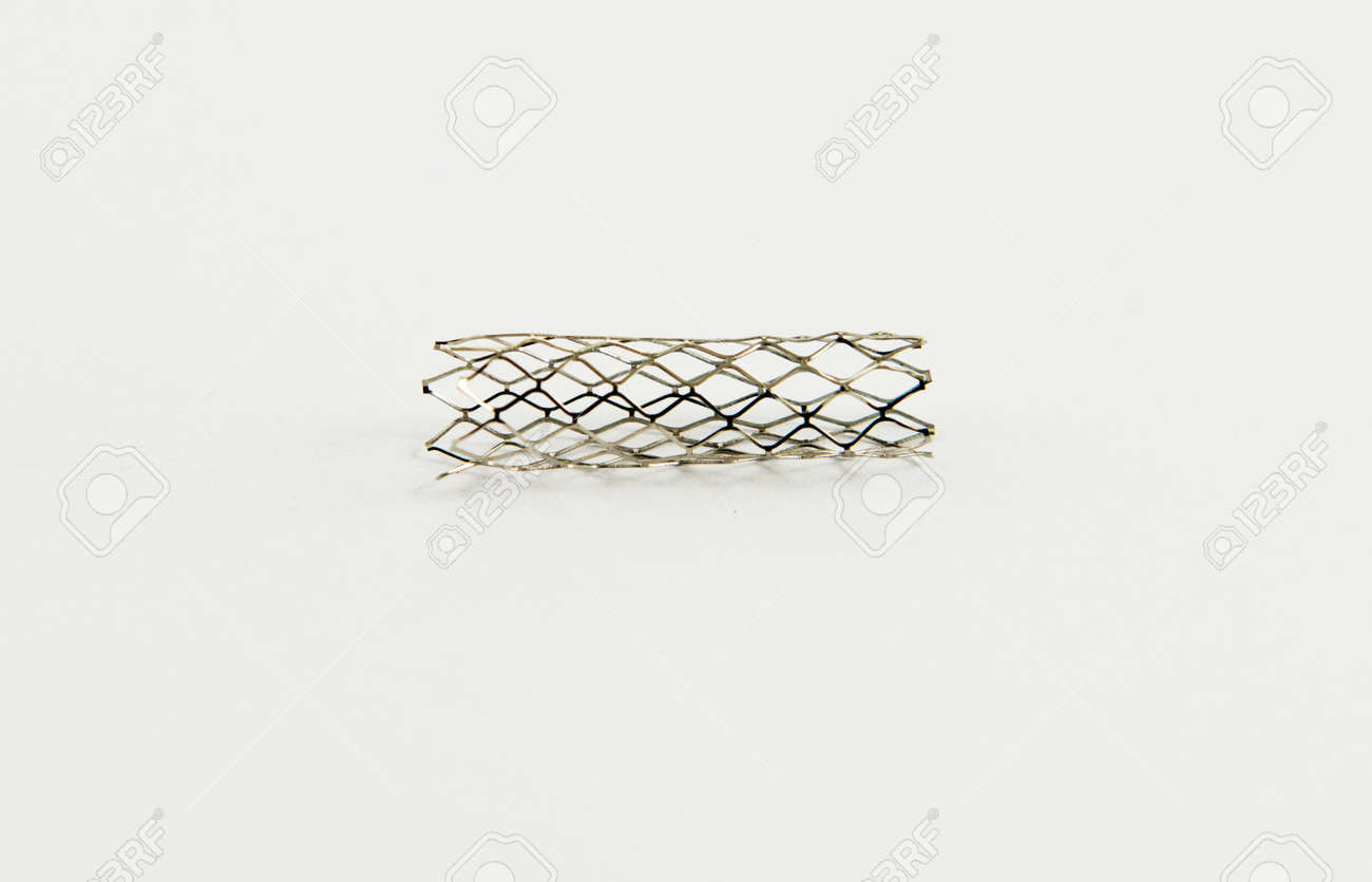 mesh metal balloon-expandable stent for endovascular surgery Stock Photo - 15925872