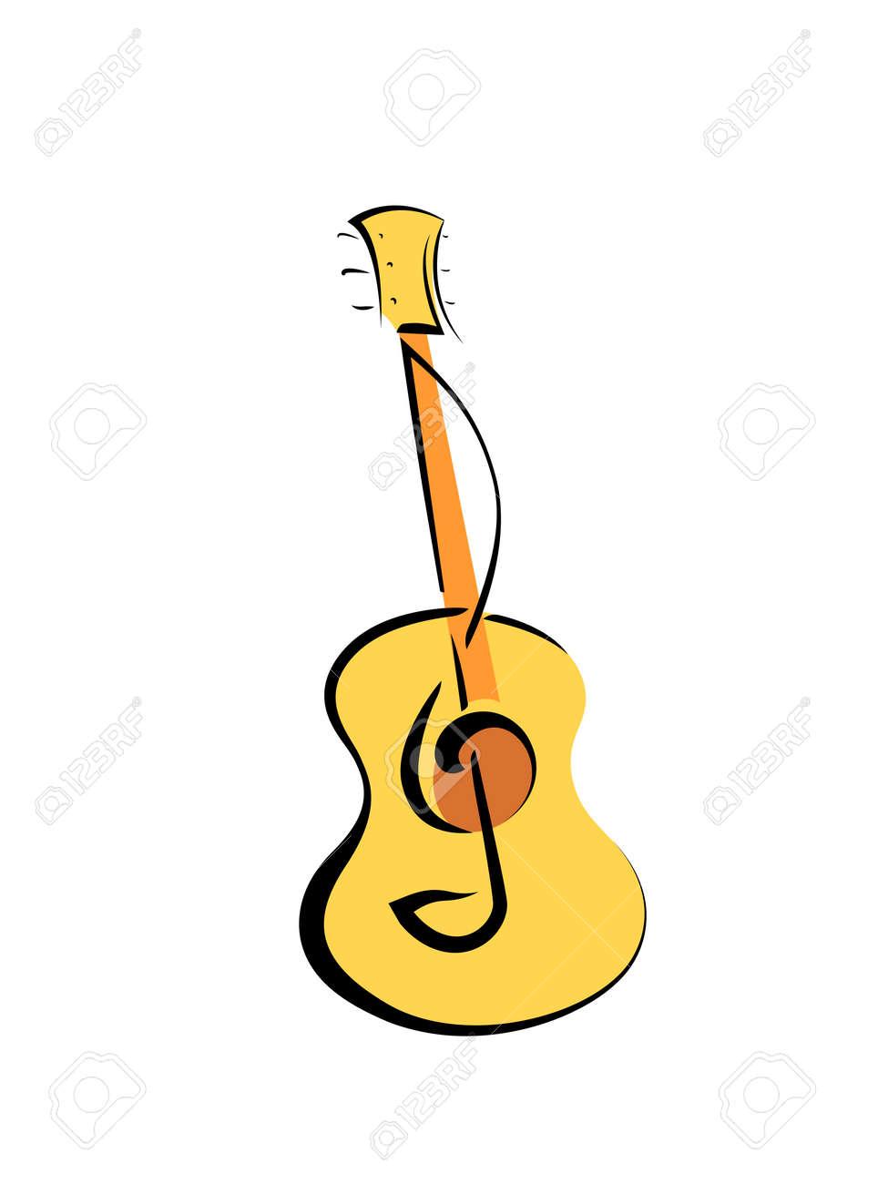 Cartel De La Música Instrumento De La Guitarra Acústica Y La Clave De Sol Ilustración Vectorial