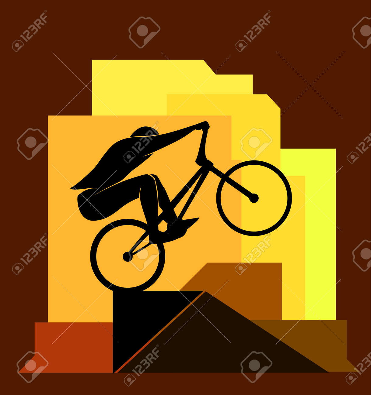 Bikycle Rider Jumps On Obstacle, Extreme Sport, Vector Illustration ...