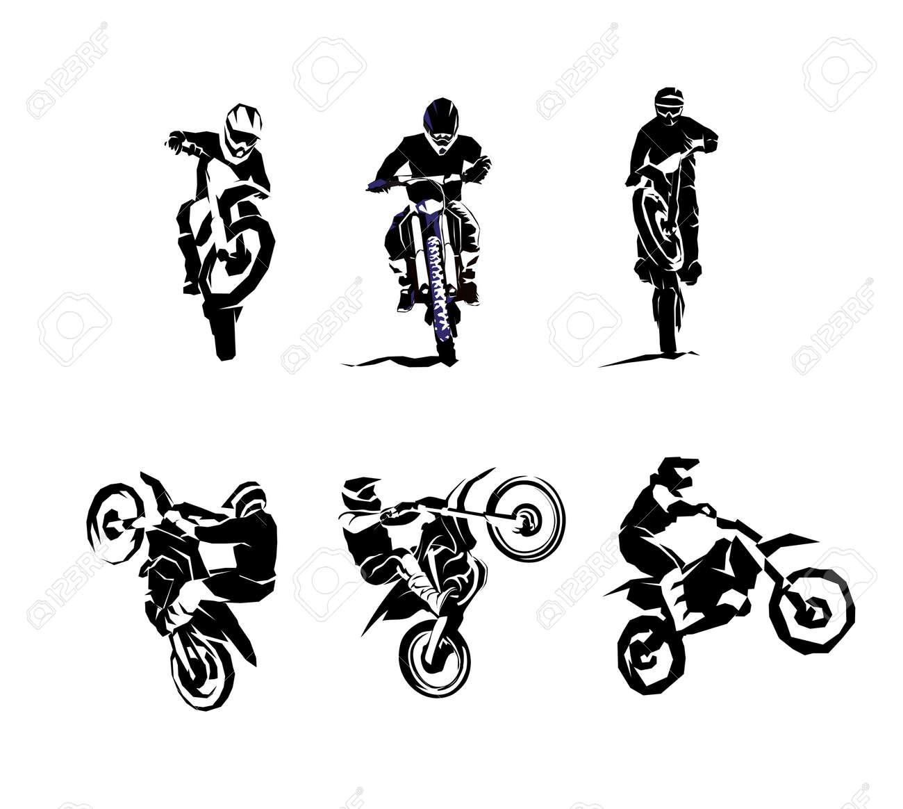 Extreme Motorbike Big Vector Set 6etc Motocross Dirtbike Enduro Royalty Free Cliparts Vectors And Stock Illustration Image 124150167