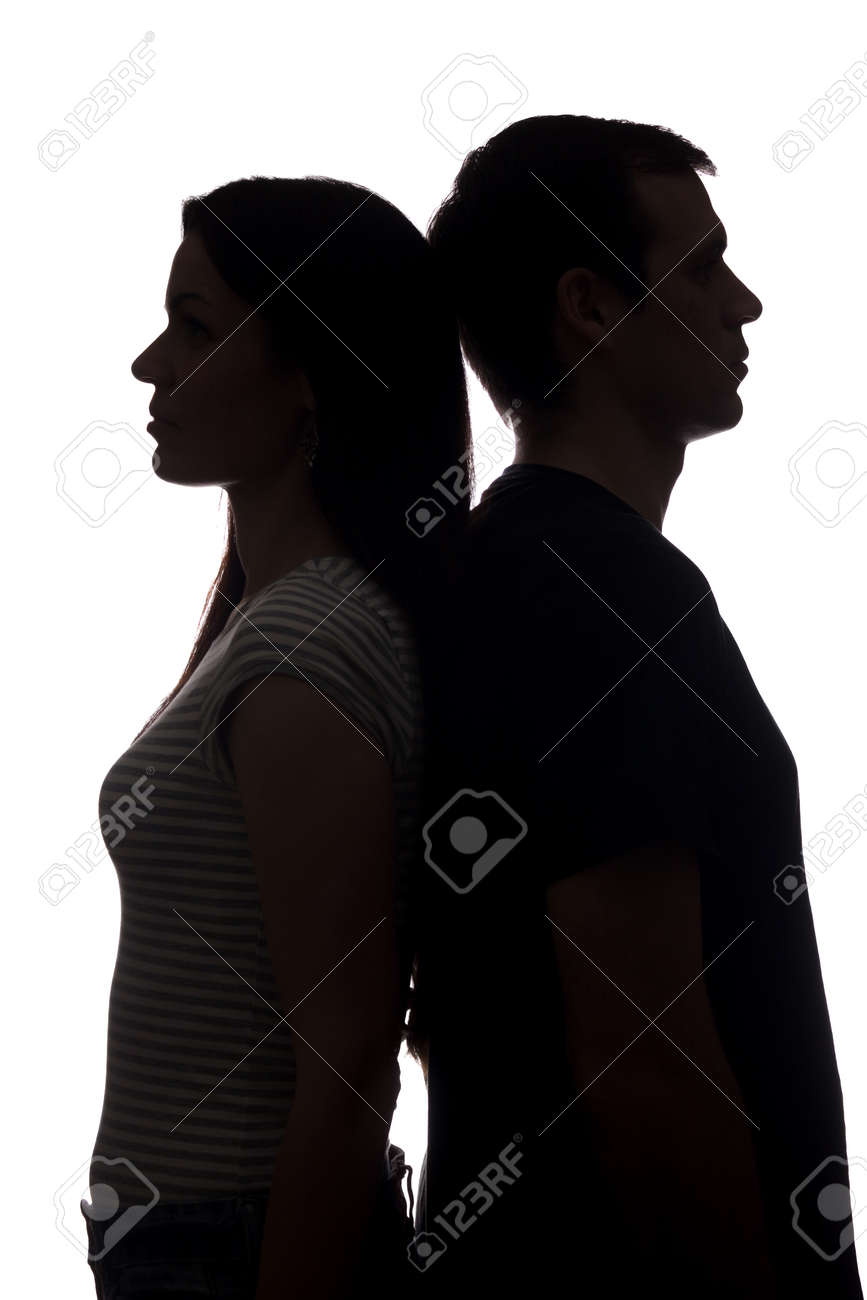 Faces women and men look in different directions, brother and sister - vertical silhouette - 152540622