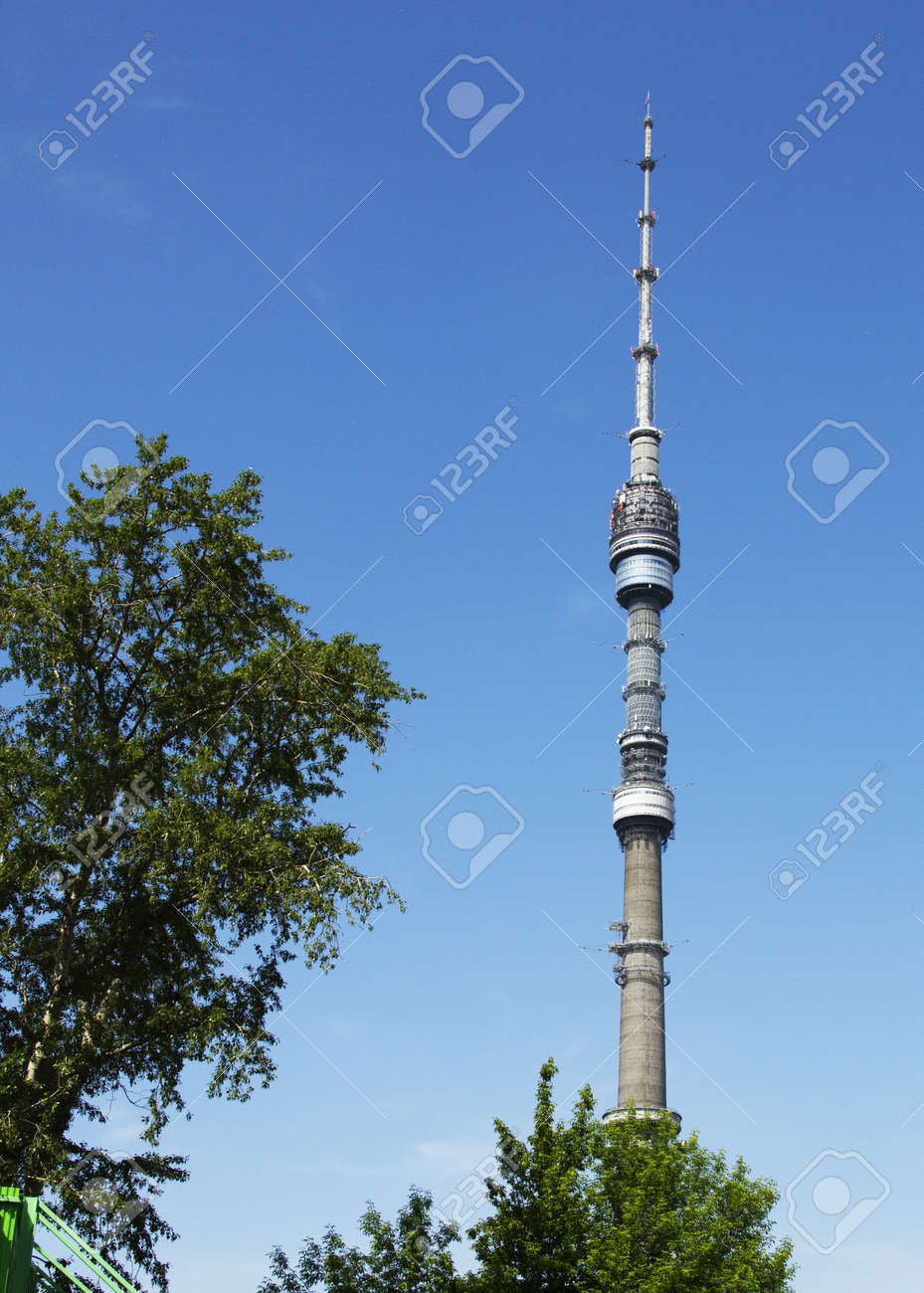Ostankino TW Tower with tree in summer Stock Photo - 20298370