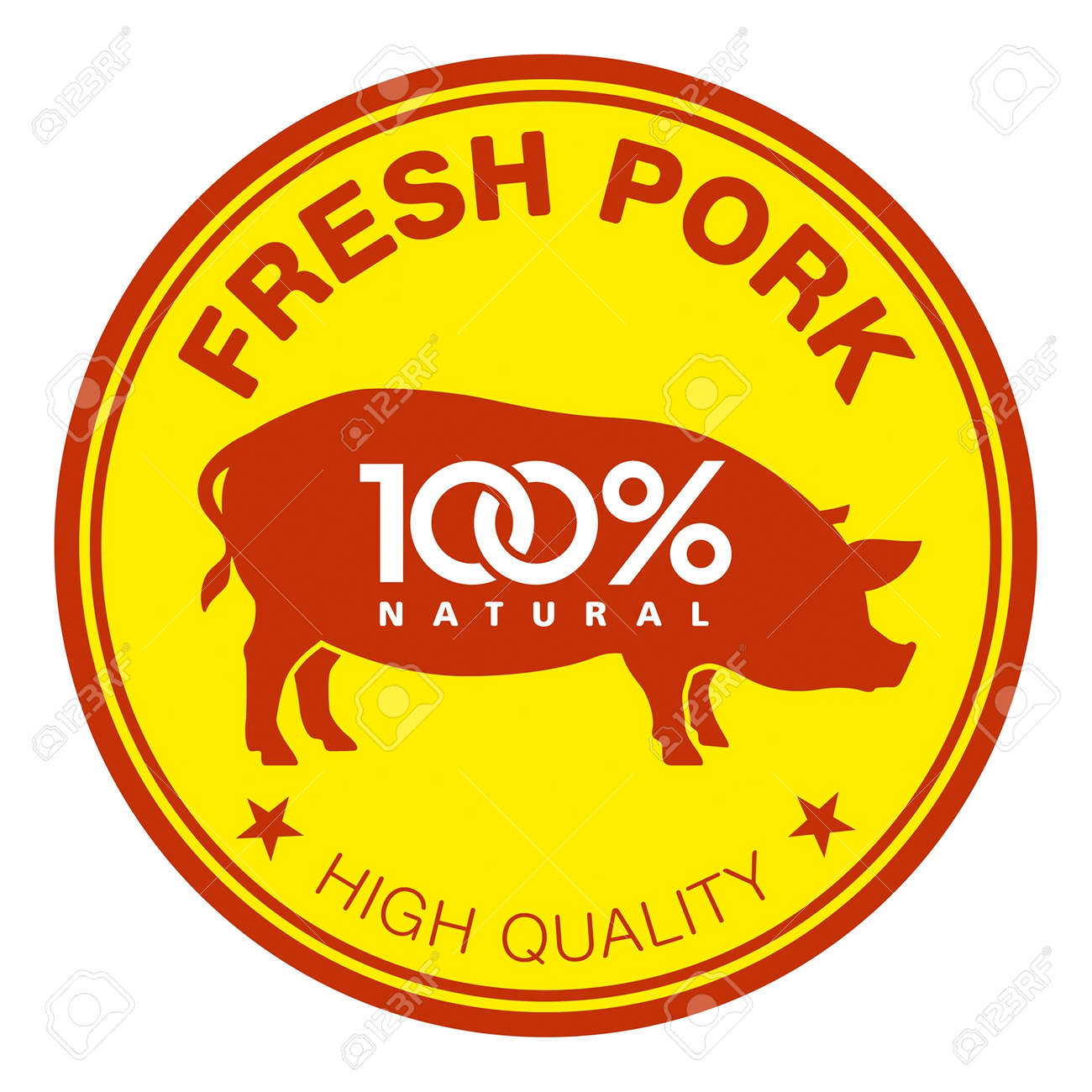 Label with a pig silhouette - 14792128