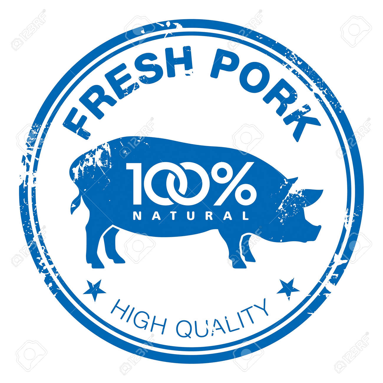 Blue grunge rubber stamp with a pig silhouette - 14792134