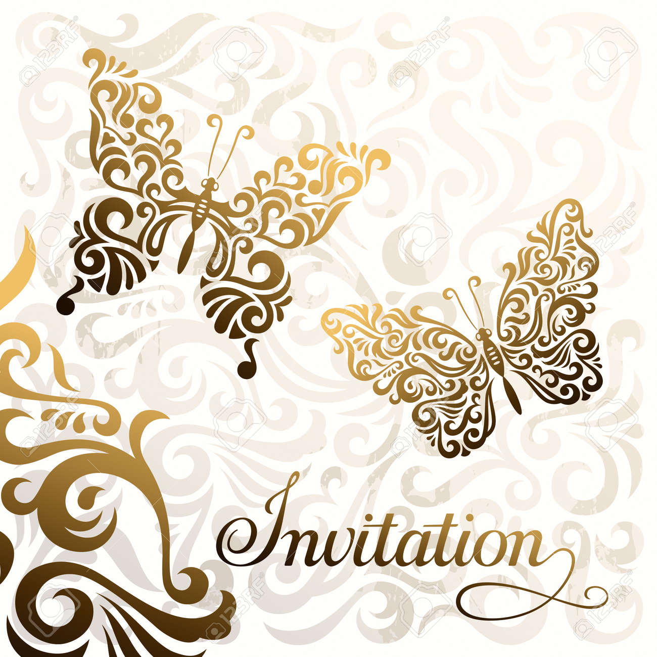 Invitation vector template with stylized butterflies royalty free invitation vector template with stylized butterflies stock vector 19116700 stopboris Gallery