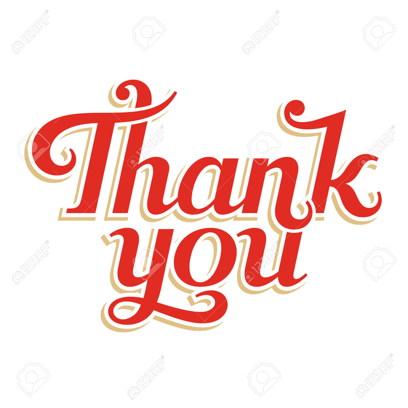 Thank You hand lettering, vector inscription - 19533578