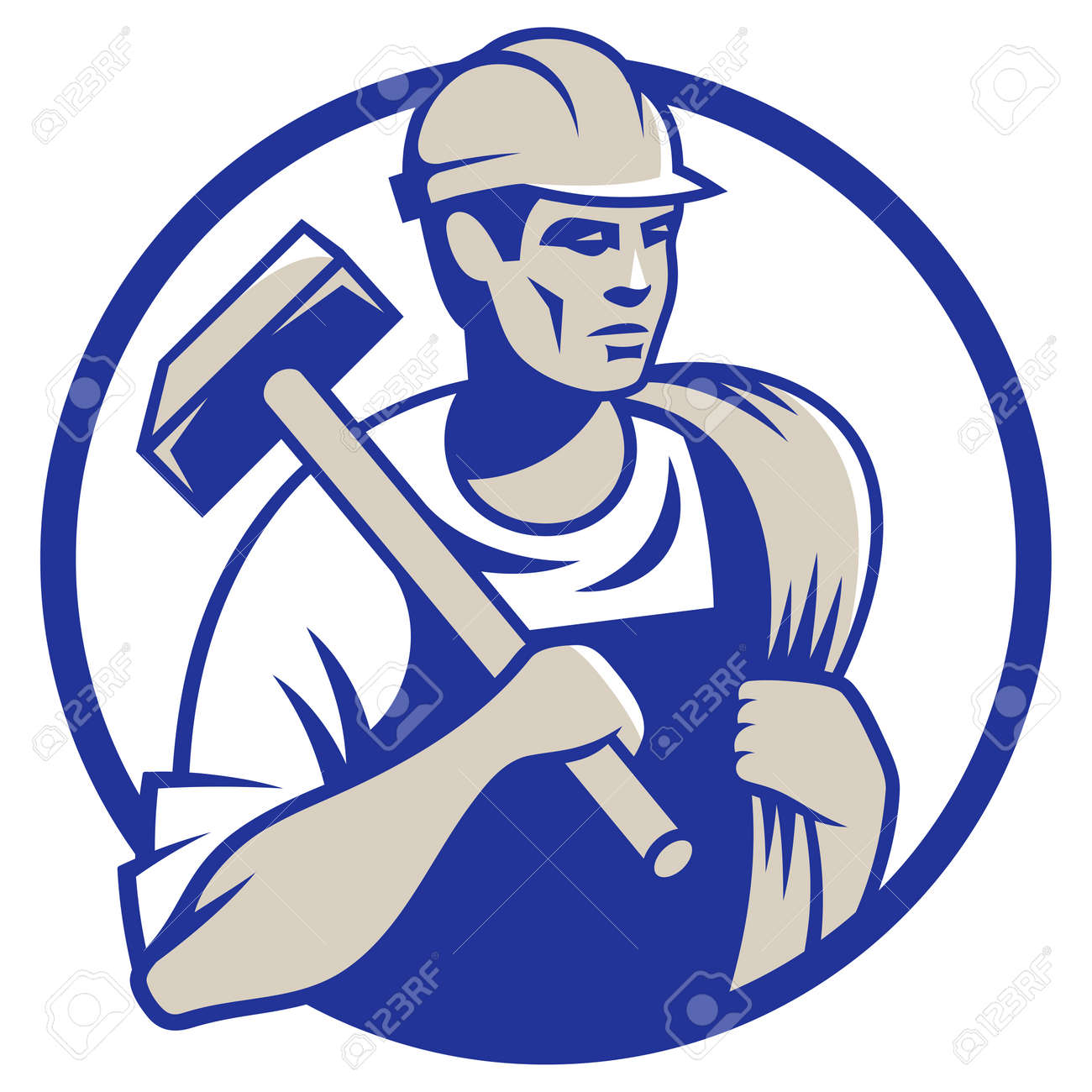 Vector illustration of a builder construction worker with hammer - 37701305