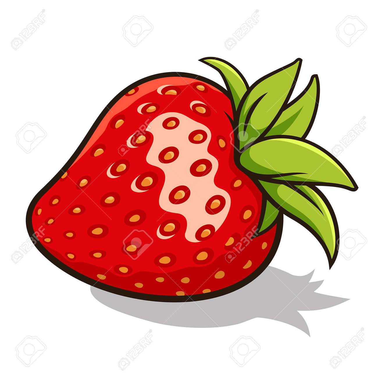illustration of fresh, ripe strawberry isolated on white - 48552009
